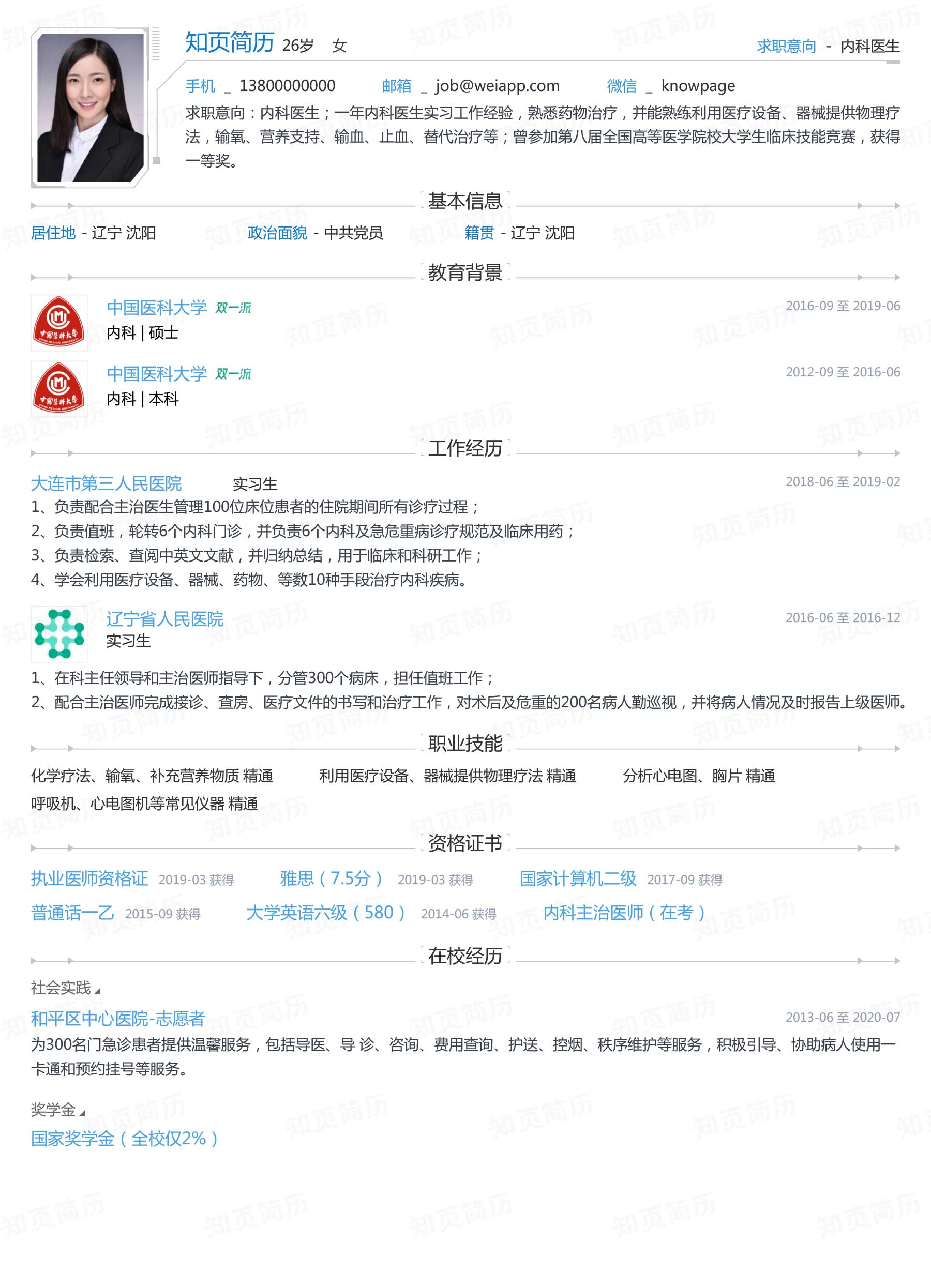 2020校招求职个人简历模板(内科医生)